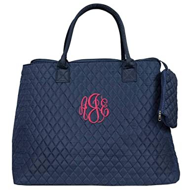 a78fb212b56 Personalized Navy Quilted Large Womens Tote Bags (Navy)