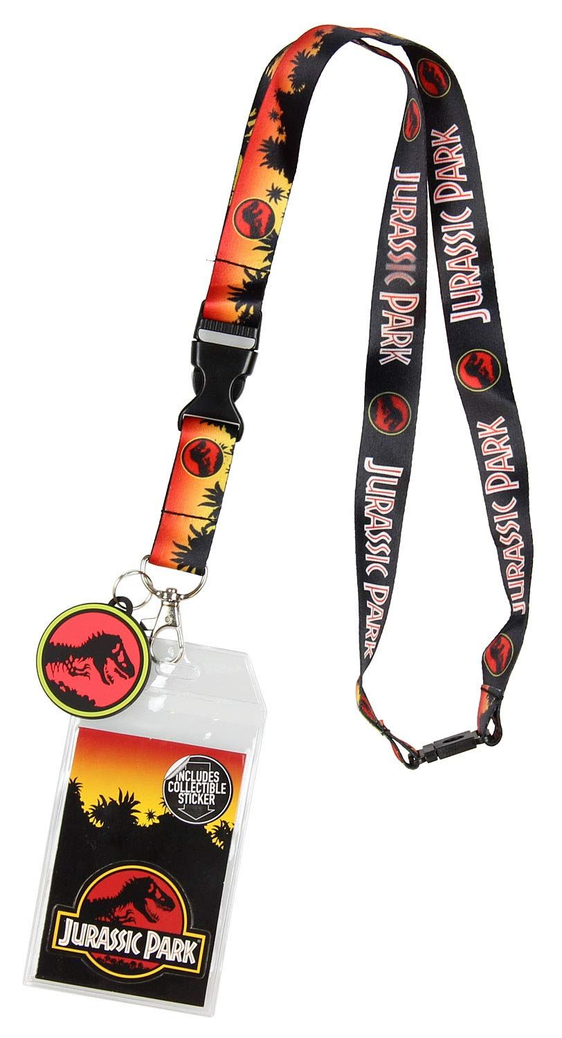 Jurassic Park Logo Lanyard Keychain ID Holder Logo Rubber Charm and Sticker