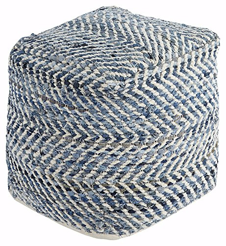 Signature Design by Ashley - Chevron Pouf - Traditional - Blue