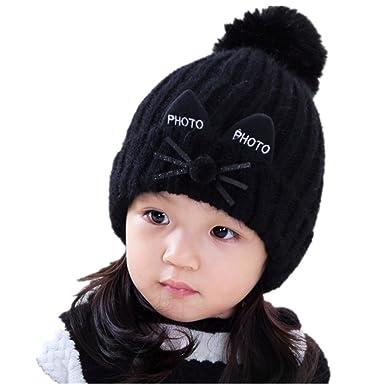 c28034b119e1 Freessom Bonnet Hiver Unisexe Enfant Garcon Fille 1-6 ans Chat avec Oreille  Pompon Mignon