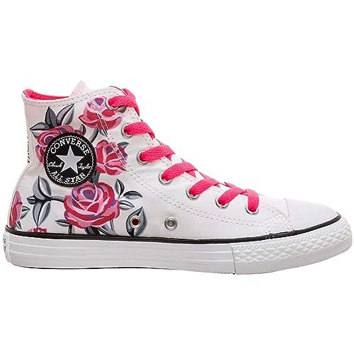 e670925bad Converse Chuck Taylor All Star Hi 663623C Kinder-Sneaker White/Racer Pink  Gr.