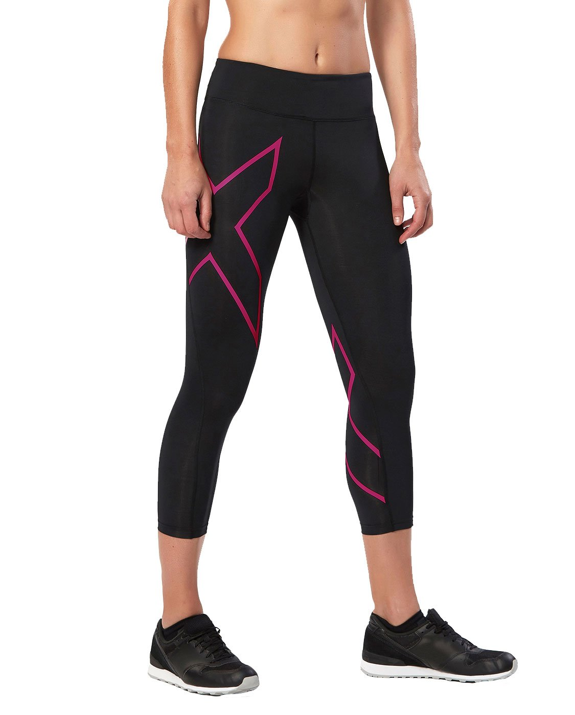 2XU Women's Mid-Rise 7/8 Compression Tights, Black/Cerise Pink, X-Small by 2XU (Image #1)
