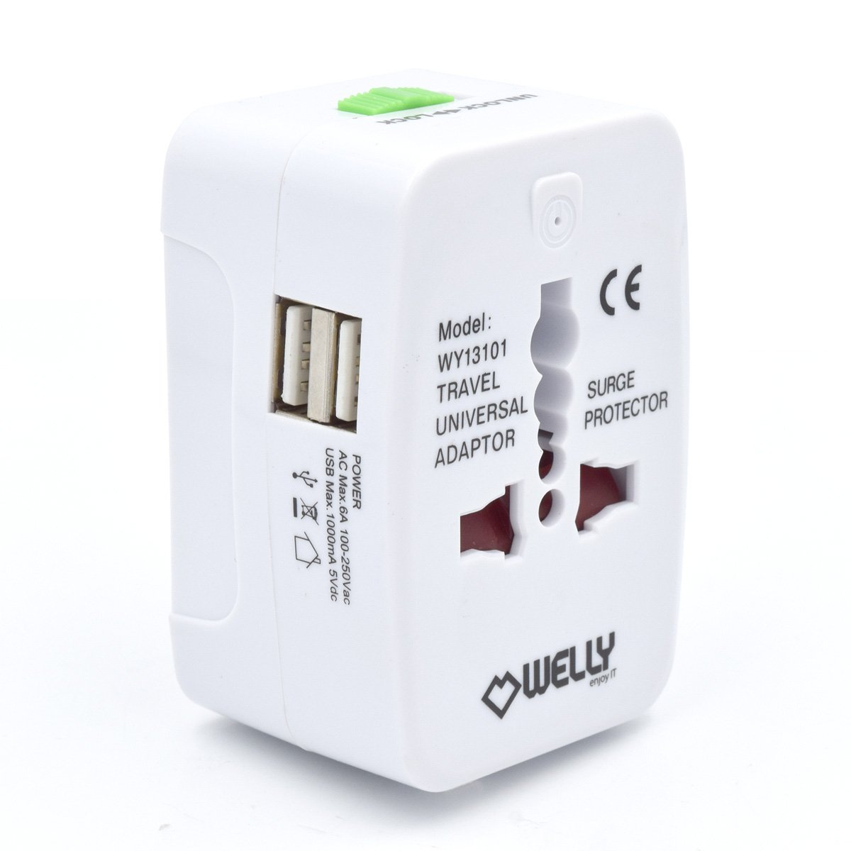 Welly Enjoy WY13101 Universal Welt Reiseadapter mit 2 Dual USB Port Netzadapterstecker Reisestecker mit EU/UK/US/AU Steckdosenadapter Weiß