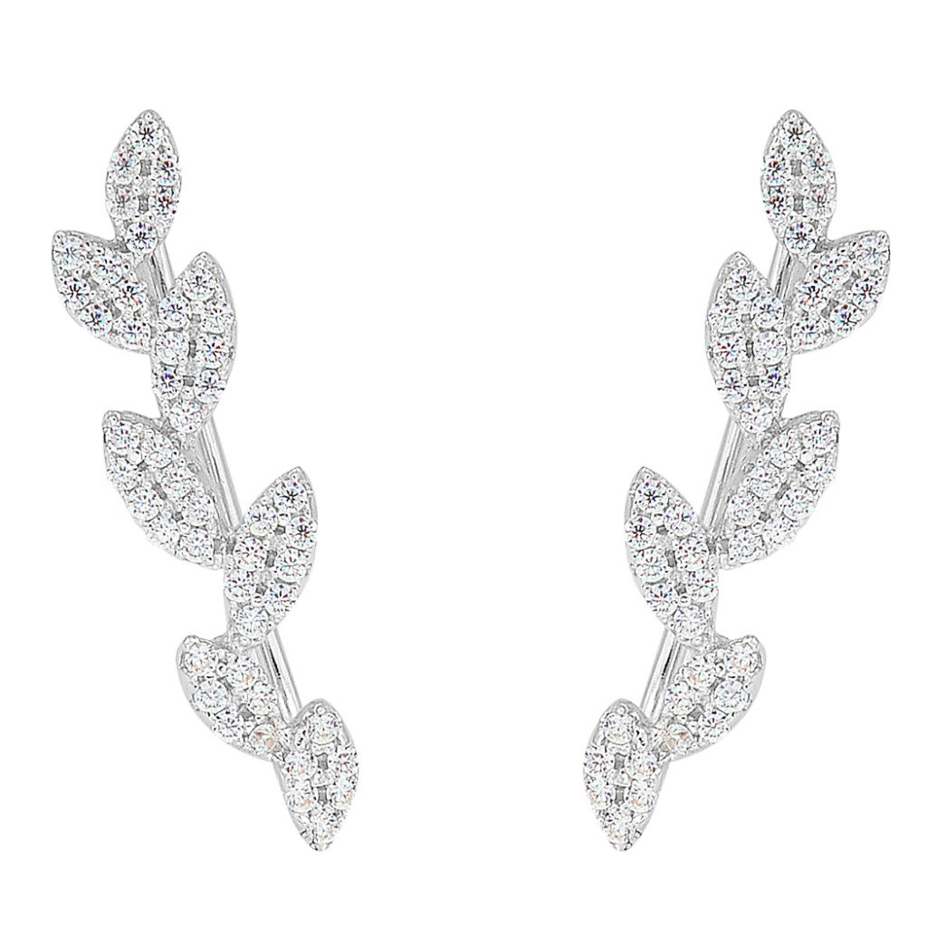 EleQueen 925 Sterling Silver Cubic Zirconia Leaf Ear Vine Crawlers Sweep Wrap Cuff Hook Earrings 1 Pair 16001126ca