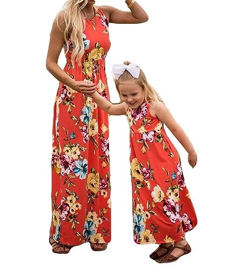 56da90c4b815 Mommy and Me Boho Floral Print Tank Long Maxi Dress Summer Beach Sleeveless  Dress (3