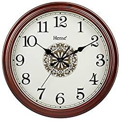 HENSE 16-inch Retro Elegant Natural Solid Pine Wood Round Clocks Non-ticking Mute Silent Quartz Movement Clock Classic Lucky Totem Decorative Wall Clock HW15-Brown