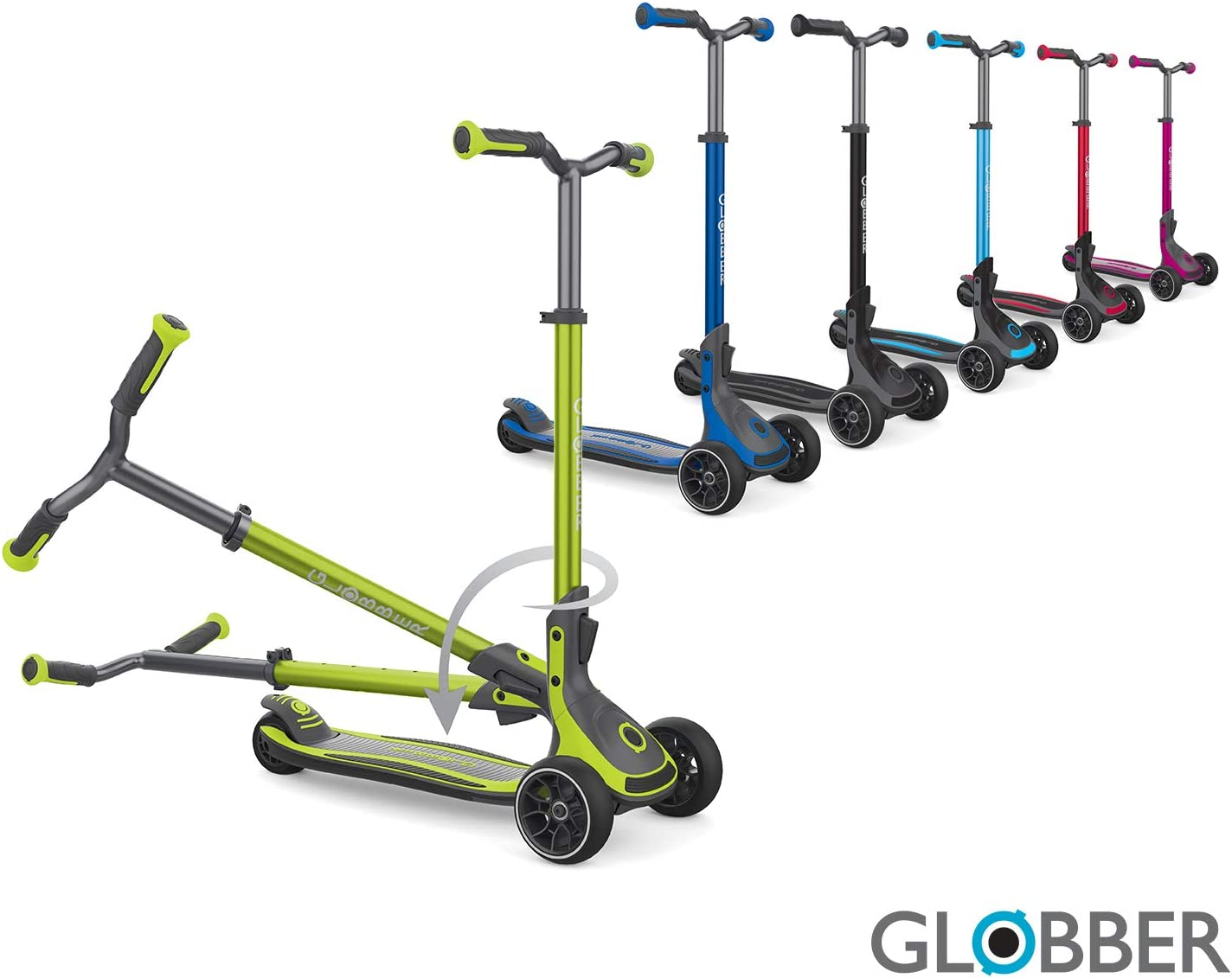 Globber ULTIMUM for Kids, Teens, and Adults 3-Wheel Scooter Patented, Adjustable Steering Angle Control System