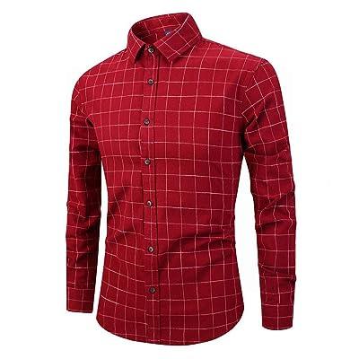 Yangxinyuan Men's Casual Business Sleeve Vertical Stripe & Plaid Cotton Slim Fit Button Down Dress Shirts at Men's Clothing store