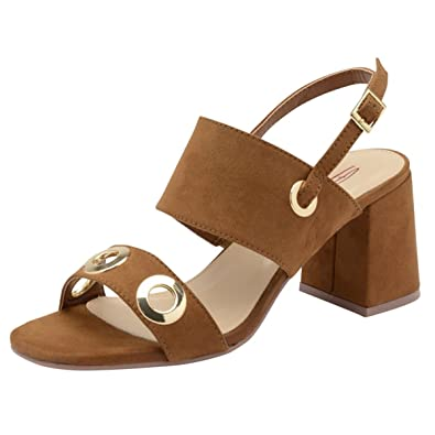 3aa3355a882 Dolcis Ladies Naomi Tan Block Heel Ankle Peep-Toe Sandals Strappy ...