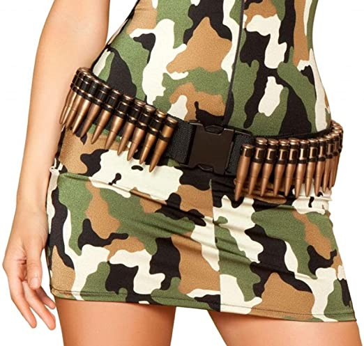 rmy Halloween Bullet Outfit Womens Costume Military Belt Accessory Accessory