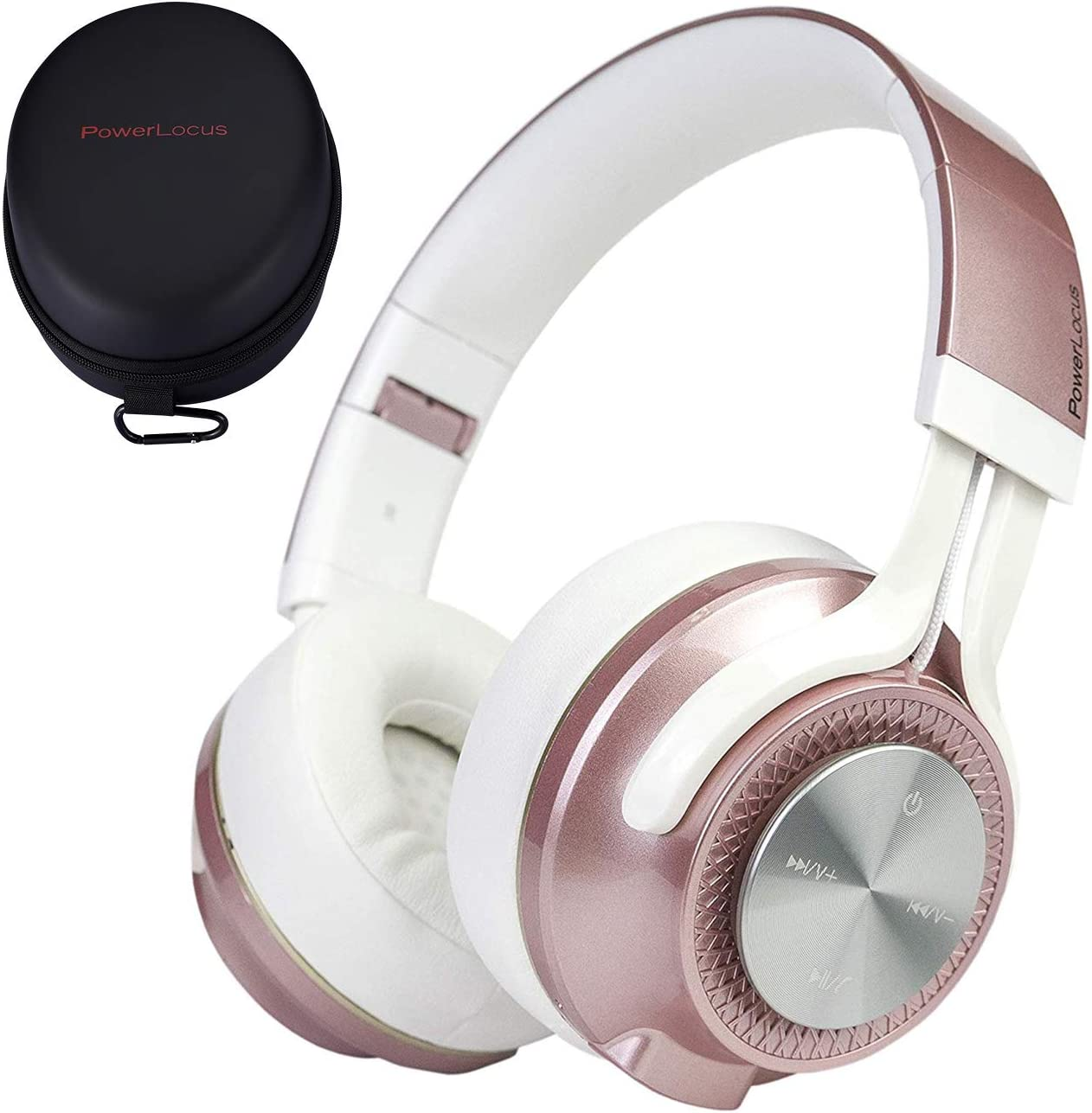 PowerLocus Bluetooth Auriculares Diadema, [Bluetooth 5.0,40h de música] Cascos Bluetooth Inalámbrico Plegable Casco Bluetooth y Cable Sonido Estéreo con Micrófono para iPhone,Móviles,TV, PC, Oro Rosa