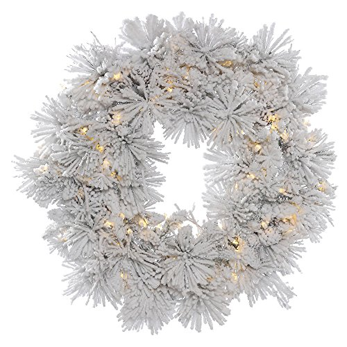 - Vickerman Flocked Alberta Artificial Wreath with Artificial Pine Cones and 100 Warm White LED Lights, 36