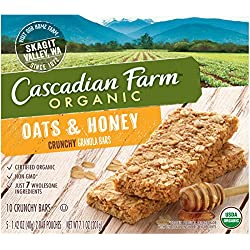 Cascadian Farm Organic Crunchy Granola Bar non-GMO Oats and Honey 10 Bars In 5 - 1.42 oz 2-Bar Pouches