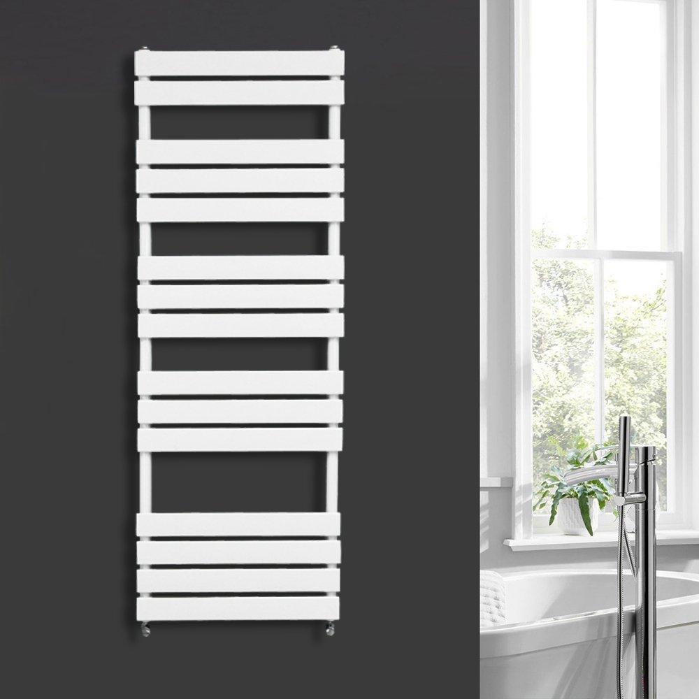 One Pair of Free Angel Valves NRG 650 x 400 mm Black Bathroom Flat Panel Heated Towel Rail Ladder Radiator Central Heating Towel Warmer