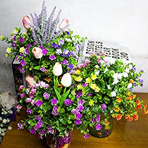 Artificial Flowers, Fake Outdoor UV Resistant Plants Faux Plastic Greenery Shrubs Indoor Outside Hanging Planter Home Kitchen Office Wedding Garden D¨¦cor 5