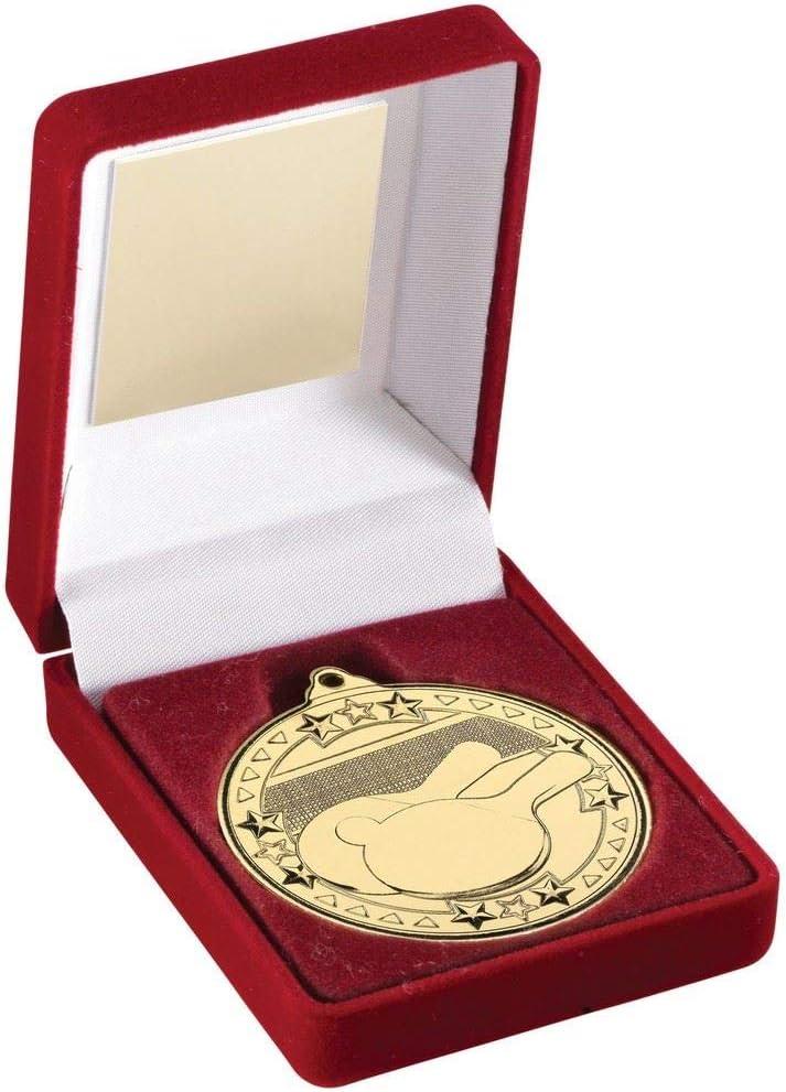 Lapal Dimension - Caja de Terciopelo Rojo y Trofeo de Tenis de Mesa con Medalla de 50 mm, Color Dorado