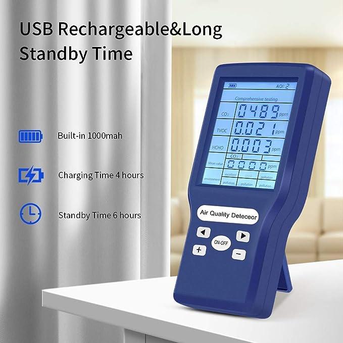 Medidor co2 KKmoon Medidor de Co2 Detector de CO2 port/átil Detector de calidad del aire inteligente Probador de sensor de temperatura y humedad Monitor de di/óxido de carbono TVOC HCHO