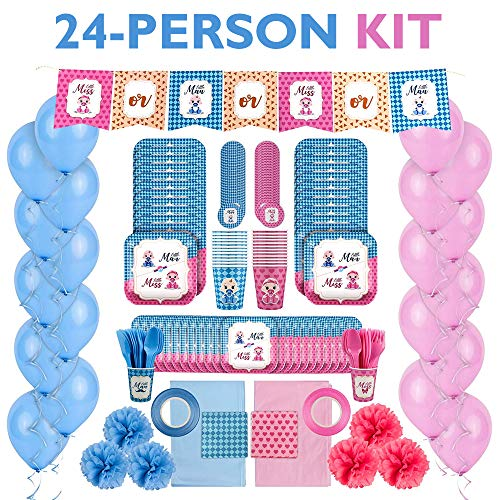 Gender Reveal Party Supplies Kit: Baby Boy or Girl Gender Reveal Decorations and Tableware Set for 24 People - Pink and Blue Balloons, Plates, Cups, Tablecloths, Banner and More - 215 Piece Party Pack -