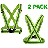 Reflective Vest 2 Pack, Elastic and Adjustable Reflective Gear for Running, Walking, Jogging,Cycling,Motorcycle Fits Everyone Powertiger