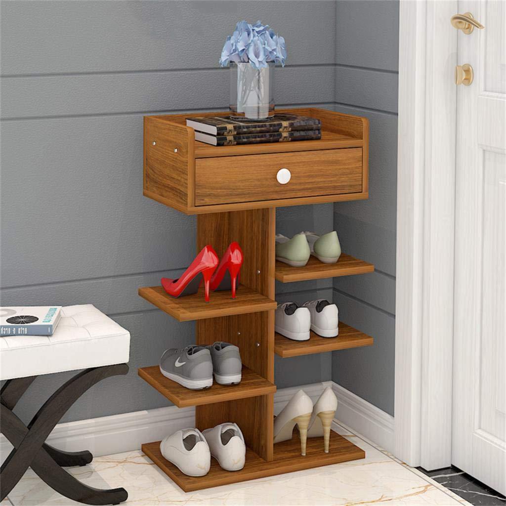 DQMSB Schuhschrank/Schuhschrank einfacher mehrschichtiger Haushaltslagerschrank Veranda Schrank Multifunktionslager Schlafsaal staubdichtes kleines Schuhregal (Farbe : Holz)