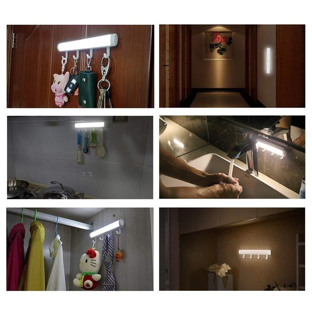 Battery Operated LED Lights, Uhomely 12 LEDs Auto on off Motion Sensor Intelligent Lighting Human Sensor Light for Wall Closet Cabinet, Stairs, Drawer, Wardrobe ect. 2 in 1 light with Hooks Adhesive -- Pure White, Pack of 2