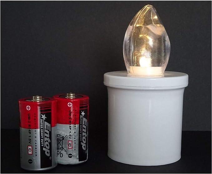 LED Grabkerze mit Einer Brenndauer von bis zu 100 Tagen inkl Lange Brenndauer Batterie 1, 100 Tage Brenndauer LED Grablicht LED Grablaterne LED Grabkerze
