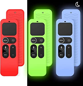 [3 Pack] Case for Apple TV 4K / 5th 4th Gen Remote, Anti-Slip (Shockproof & Lightweight) Silicone Cover for Apple Siri Remote Controller [Skin-Friendly]