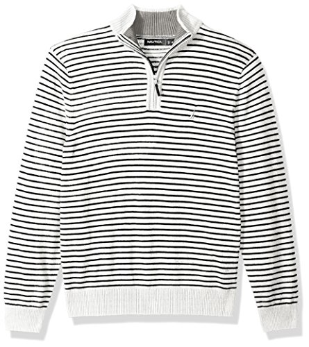 Nautica Ribbed Sweater (Nautica Men's Standard Long Sleeve 1/4 Zip Stripe Sweater With Suede Pull Detail, Marshmallow, Medium)