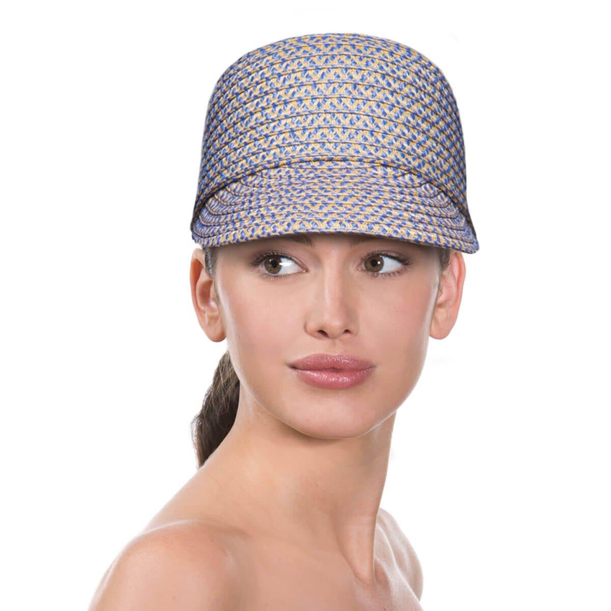 Eric Javits Luxury Fashion Designer Women's Headwear Hat - Mondo Cap (Blue Speckle, Medium/Large)