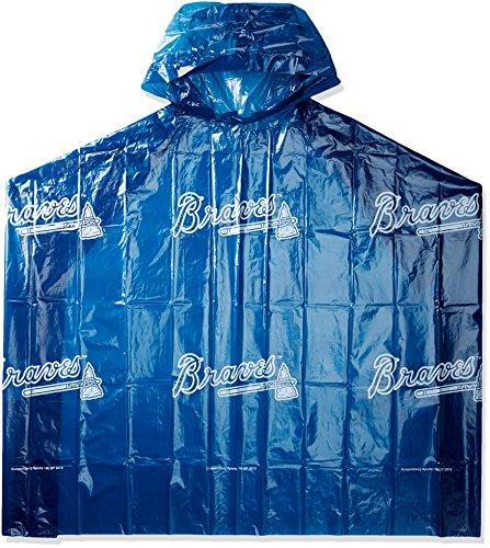 (MLB Atlanta Braves Rain Poncho, One Size, Blue)