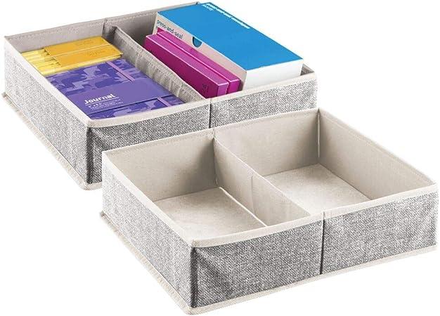 mDesign Juego de 2 divisores de cajones – Caja de almacenaje para ...