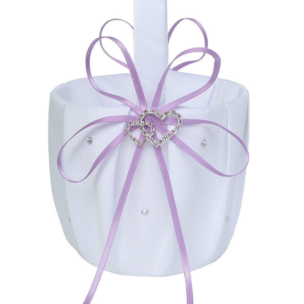 Lanting Home Decor 2 Packs Handle Flower Girl Basket with Satin Ribbon and 2 Rhinestone Hearts for Rustic Wedding Bride Shower Ceremony Party,Lavender by Lanting Home Decor (Image #2)