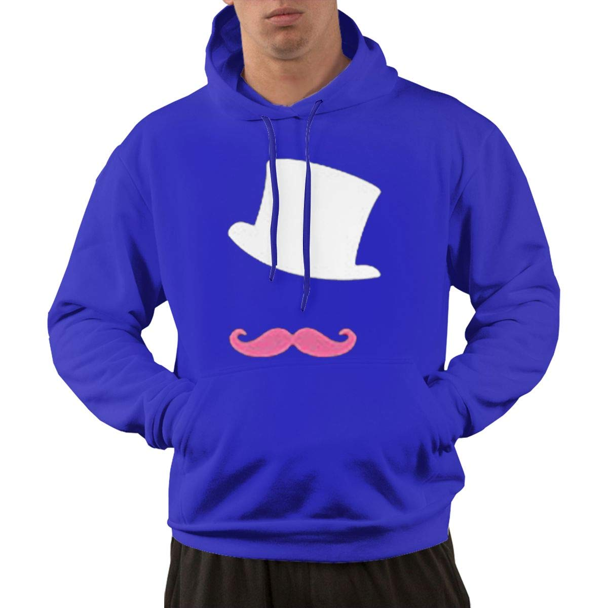 DingingGOOD Hoodies for Men Walk Men's Markiplier White Hat and Pink Moustache Hoodie with Pockets by DingingGOOD