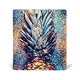 La Random Shine Fashion Pineapple Custom Leather Book Cover for Notebook School Textbook Books Hard Cover 9 x 11 Inches