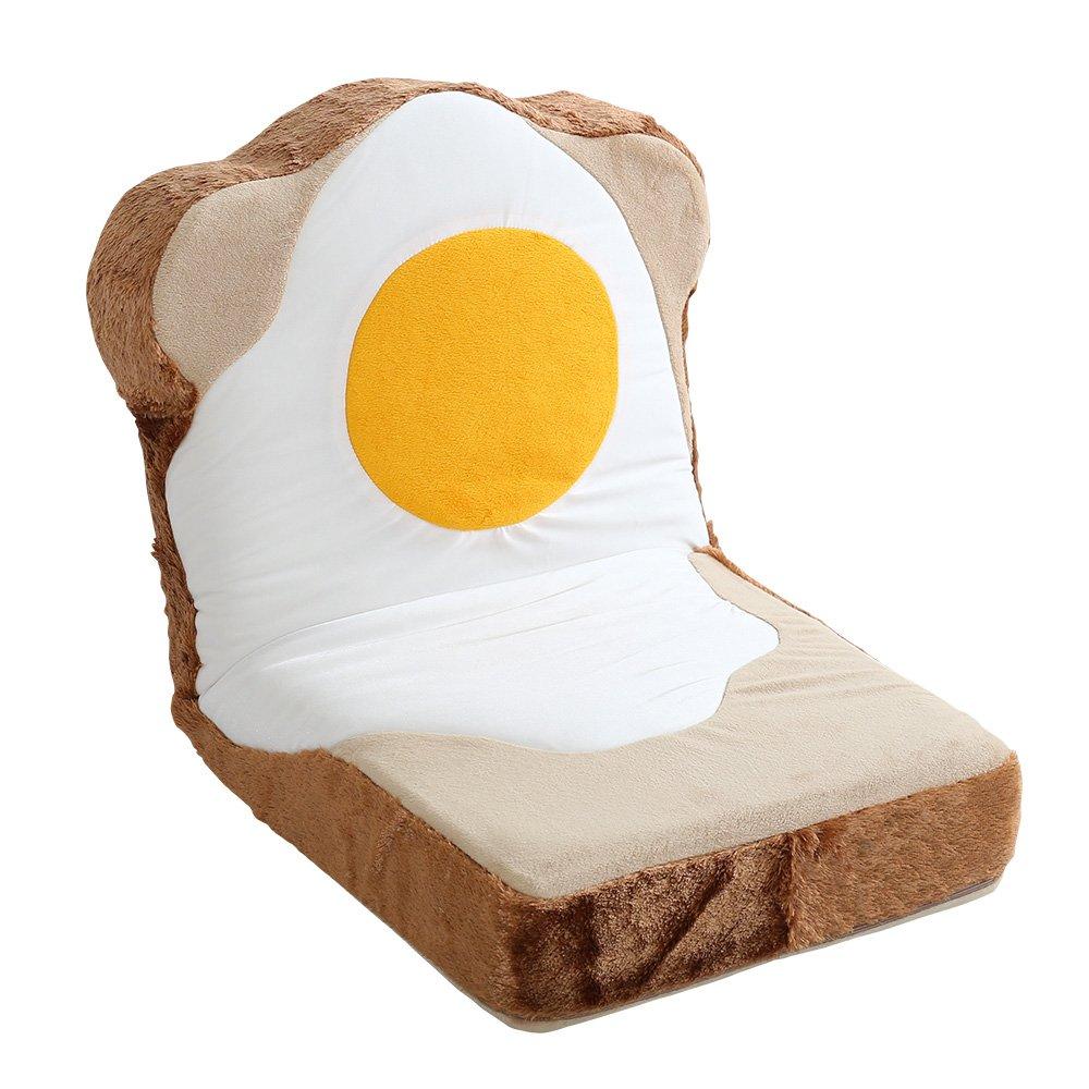 目玉焼き食パン座椅子(日本製)ふわふわのクッションで洗えるウォッシャプルカバー | Roti-ロティ- B07411PBKL