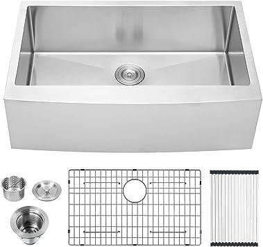 Lordear 30 Inch Farmhouse Sink Apron Front 16 Gauge Stainless Steel Deep Single Bowl Kitchen Farm Sink Basin Amazon Com