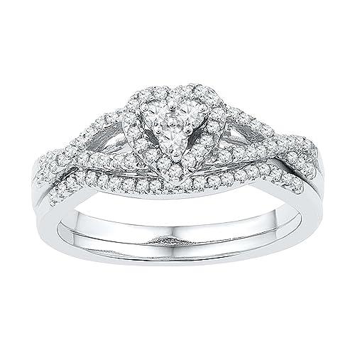 10 K oro blanco redondo diamantes corazón novia boda anillo de compromiso banda Set (3