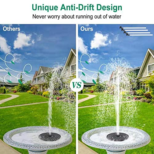 bestc Solar Fountain Water Pump for Birdbath, Submersible Outdoor Water Fountain Panel Kit for Bird Bath,Small Pond,Pool,Garden and Lawn