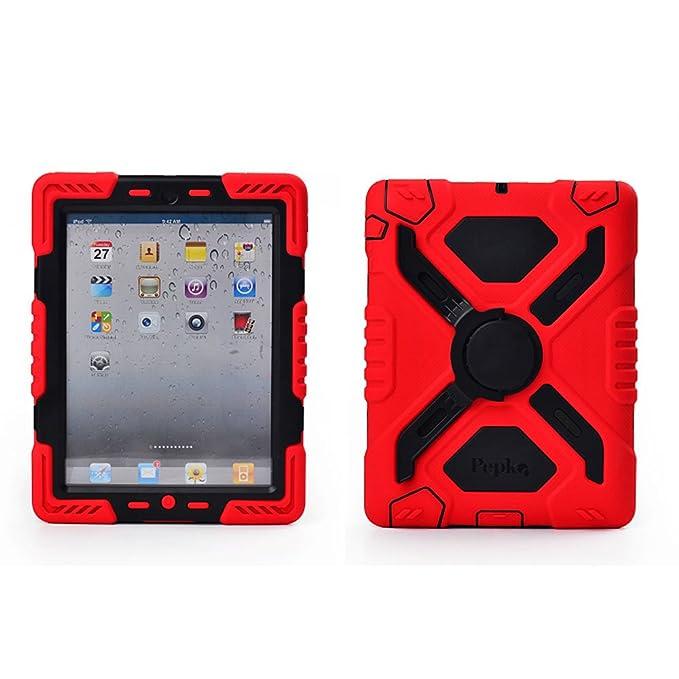 Pepkoo a prueba de choques silicona caso - Carcasa con función atril para Apple iPad 2, iPad 3 y iPad 4 - Rojo / Negro