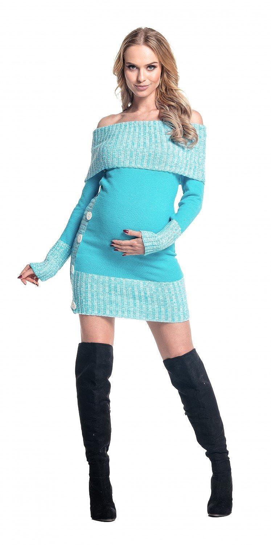 913p Happy Mama Femme Maternit/é robe pull de grossesse encolure Bardot