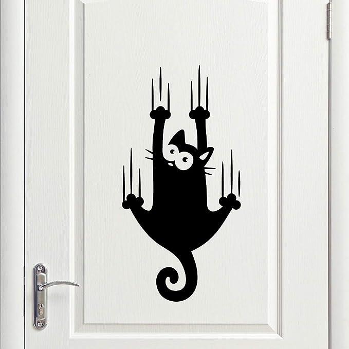 Adhesivo de vinilo para pared con diseño de gatos, para decorar la habitación, el hogar, la cocina, la sala de estar, el refrigerador, la estarcidad, la guardería, la casa de los niños,