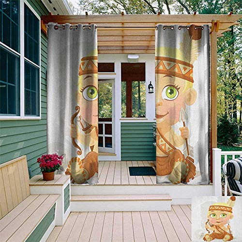 leinuoyi Zodiac Sagittarius, Outdoor Curtain Kit, Native American Girl with Bow and Arrow Cartoon Indigenous Woman Design, for Patio W72 x L96 Inch Multicolor