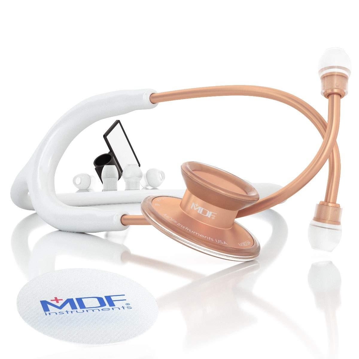 MDF® Acoustica® Deluxe Estetoscopio ligero de doble cabeza - Garantía de por vida & Programa-piezas-gratuitas-de-por-vida - (MDF747XP) (Oro Rosa y Blanco)