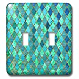 3dRose Uta Naumann Faux Glitter Pattern - Luxury Trendy Gold Green Teal Moroccan Arabic Quatrefoil Tile Pattern - Light Switch Covers - double toggle switch (lsp_268959_2)