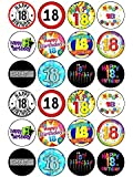 """24x 18th Birthday Mix 1.5"""" (3.8cm) PRE- CUT PREMIUM RICE PAPER Edible Cake Toppers"""