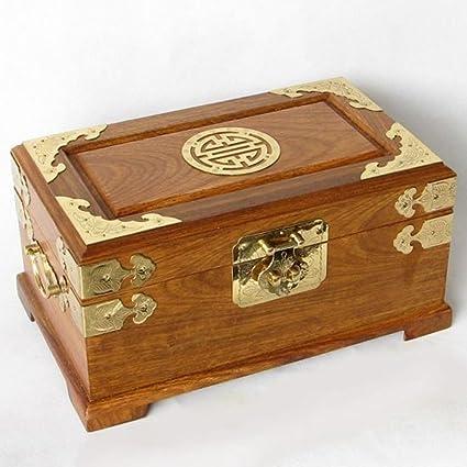 Caja de joyas antiguas de caoba con bloqueo Palo grande estilo chino caja de almacenamiento caja