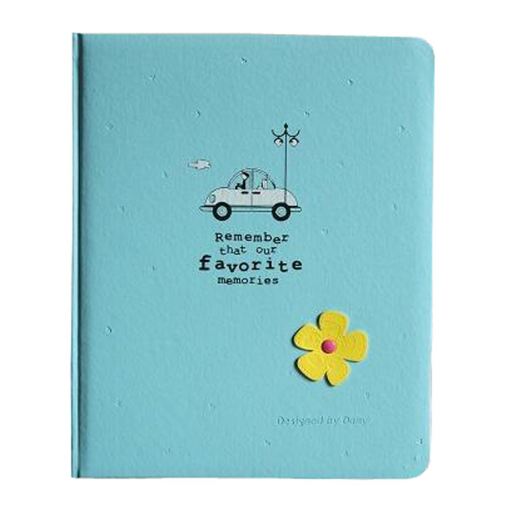 Sky Blue Kylin Express Lovely Flower 200 Pocket Leather Cover Photo Album for 4x 6 Prints
