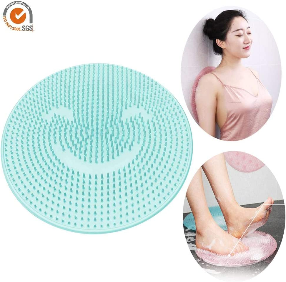 raspbery Back Scrubber /& Massager Foot Massager Cleaner Brush Foot Cleaning Mat for Bath or Shower with Non-Slip Suction Cups