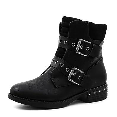 Damen Nieten Stiefel Biker Boots mit Schnallen Stiefeletten in Lederoptik  Schwarz 36 8aa9a98b7d
