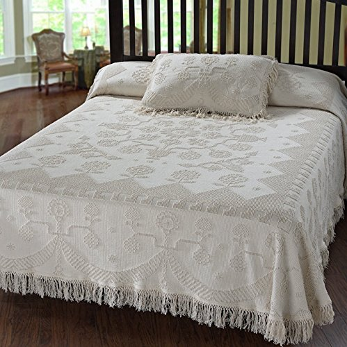 Martha Washington's Choice Bedspread - Twin - Antique - with String Fringe by Maine Heritage Weavers